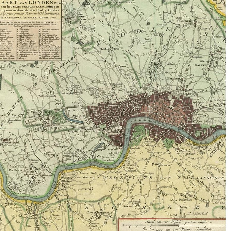 Antique Map of London by Tirion '1754' In Good Condition For Sale In Langweer, NL