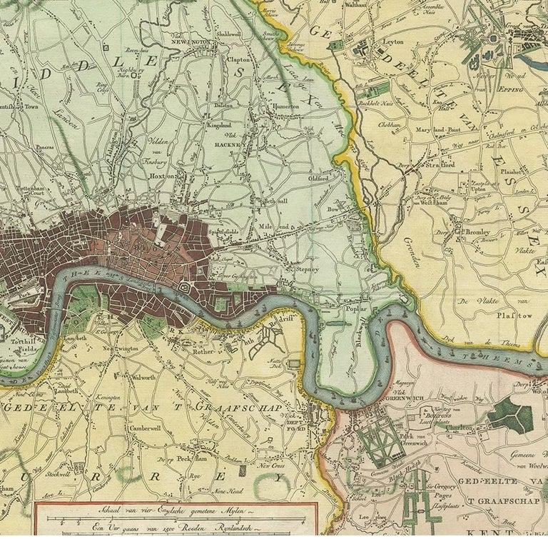 18th Century Antique Map of London by Tirion '1754' For Sale