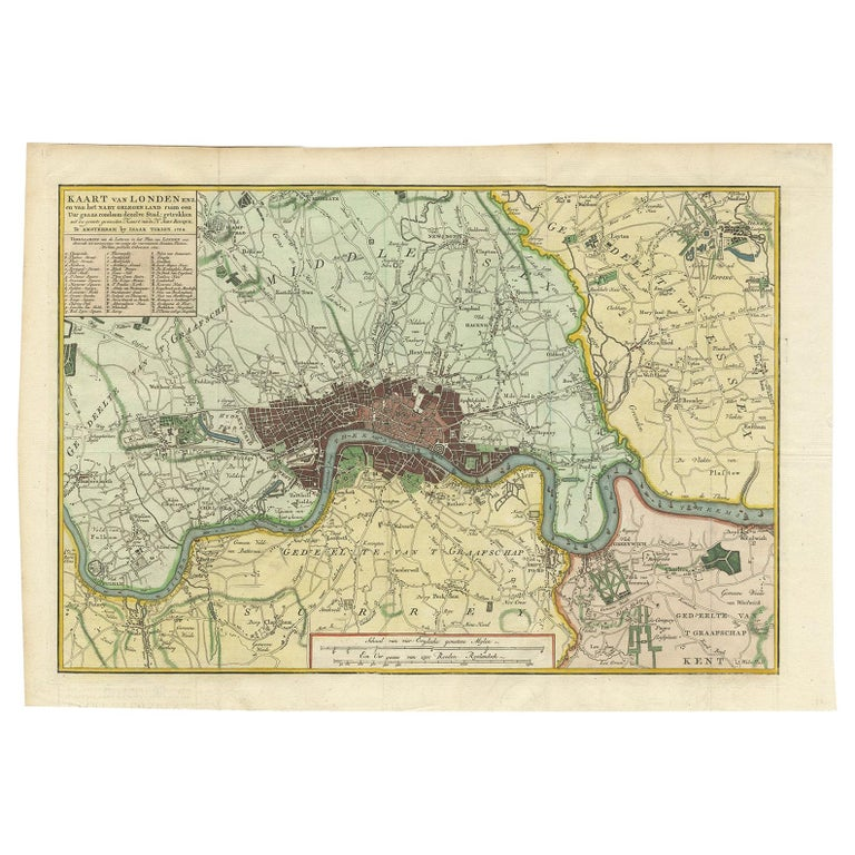 Antique Map of London by Tirion '1754' For Sale