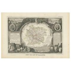 Antique Map of Lot et Garonne 'France' by V. Levasseur, 1854