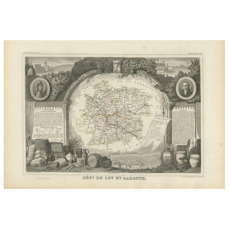 Antique Map of Lot et Garonne 'France' by V. Levasseur, 1854 For Sale