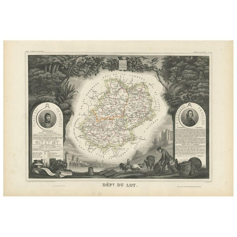 Antique Map of Lot 'France' by V. Levasseur, 1854 For Sale
