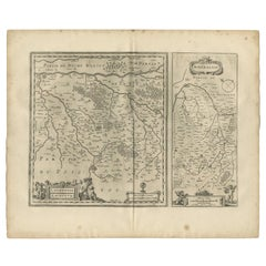 Antique Map of Loudun and Mirebeau by Janssonius '1657'