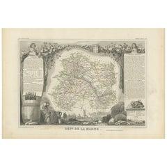 Antique Map of Marne 'France' by V. Levasseur, 1854