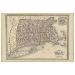 Antique Map of Massachusetts, Connecticut and Rhode Island by Johnson, 1872