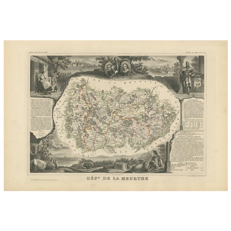 Antique Map of Meurthe 'France' by V. Levasseur, 1854 For Sale