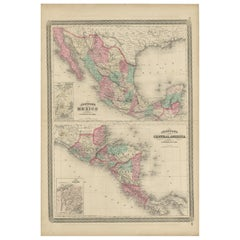 Antique Map of Mexico and Central America by Johnson '1872'