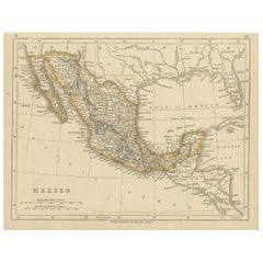 Antique Map of Mexico by Lowry '1852'