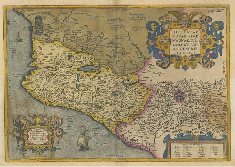 Antique map titled 'Hispaniae Novae Sivae Magnae Recens Et Vera Descriptio 1579'. Map of western New Spain, showing the recently-created Spanish settlements, many rivers, and large lakes, including Lake Chapala and a mythical sea with islands in the
