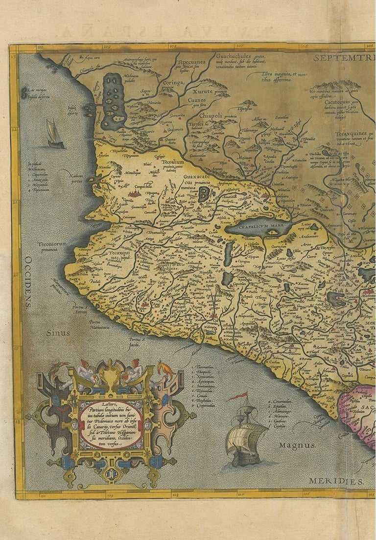 Belgian Antique Map of Mexico by Ortelius, circa 1602 For Sale