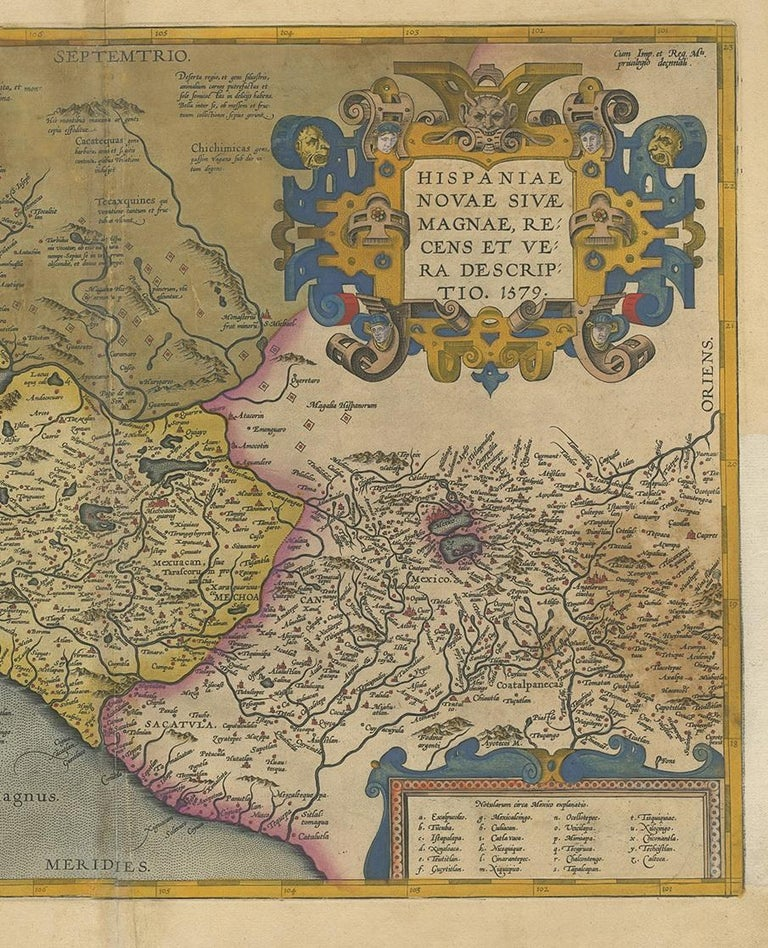 Engraved Antique Map of Mexico by Ortelius, circa 1602 For Sale