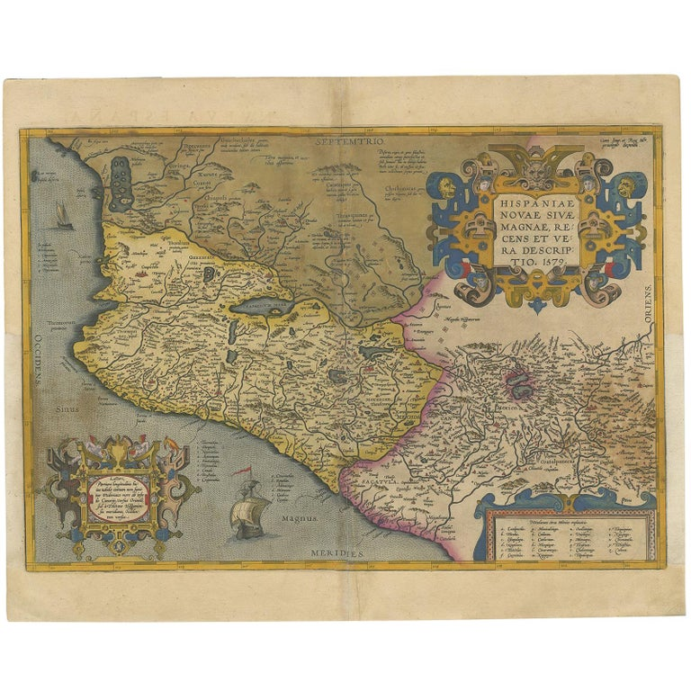 Antique Map of Mexico by Ortelius, circa 1602 For Sale at 1stdibs