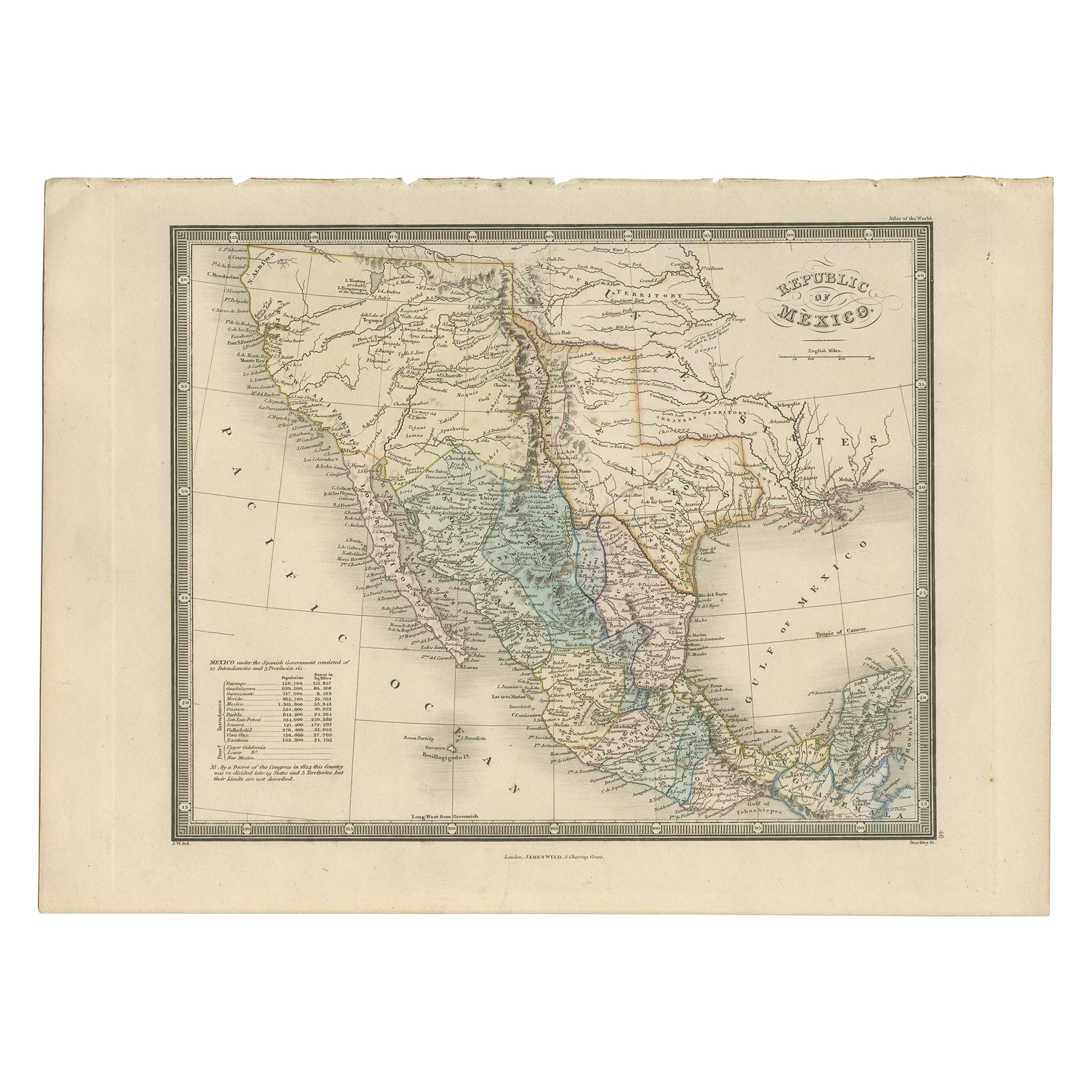 Antique Map of Mexico by Wyld, '1845'