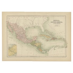 Antique Map of Mexico, Central America and West Indies by A & C. Black, 1870