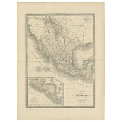 Antique Map of Mexico, Texas and Upper California by Lapie, 1842