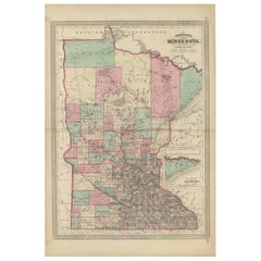 Antique Map of Minnesota by Johnson, '1872'