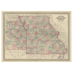 Antique Map of Missouri and Kansas by Johnson, '1872'
