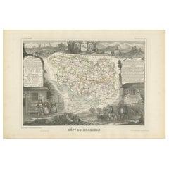 Antique Map of Morbihan 'France' by V. Levasseur, 1854