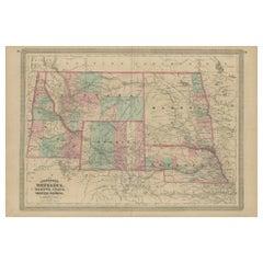 Antique Map of Nebraska, Dakota, Idaho, Montana and Wyoming by Johnson '1872'