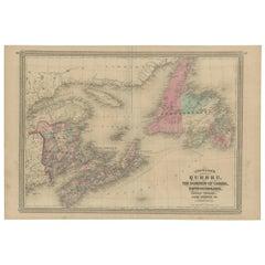 Antique Map of New Brunswick, Nova Scotia and Surroundings by Johnson, 1872