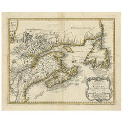 Antique Map of New England and Eastern Canada by Homann Heirs, circa 1755