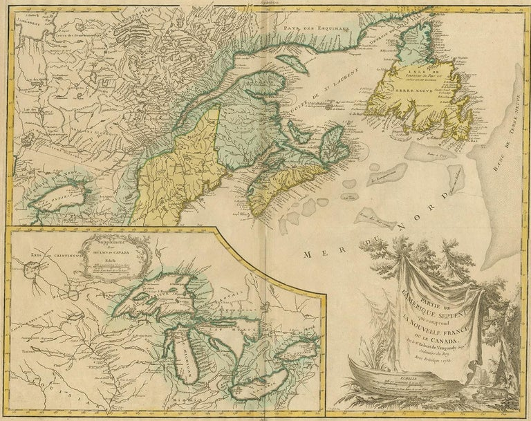 Antique map titled 'Partie de l'Amérique septent qui comprend la nouvelle France ou le Canada'. Decorative and highly detailed map of New England and part of Canada, extending east to Newfoundland, with a large inset map of the Great Lakes. The map