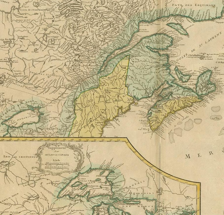 Antique Map of New England and Part of Canada by Vaugondy 'circa 1755' In Good Condition For Sale In Langweer, NL