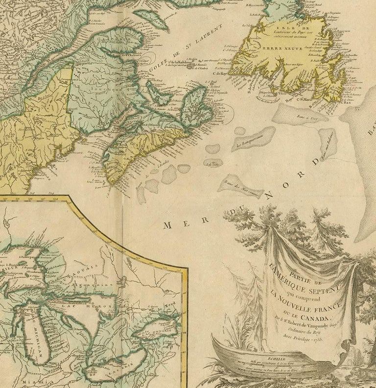 18th Century Antique Map of New England and Part of Canada by Vaugondy 'circa 1755' For Sale