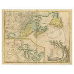 Antique Map of New England and Part of Canada by Vaugondy 'circa 1755'