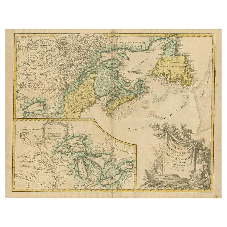 Antique Map of New England and Part of Canada by Vaugondy 'circa 1755' For Sale