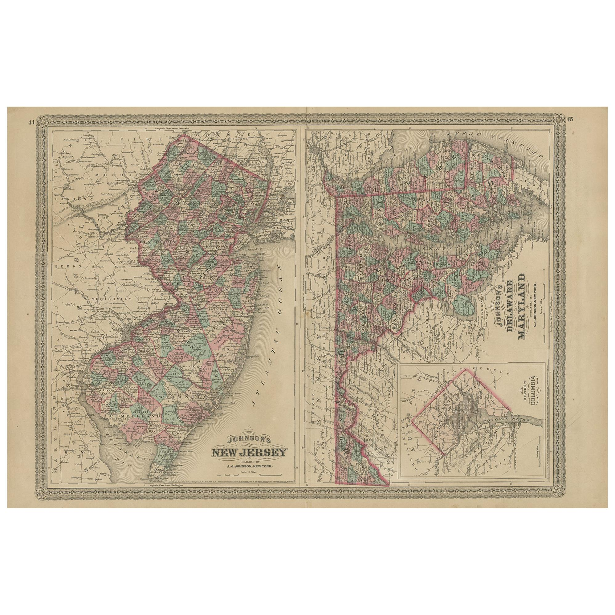 Antique Map of New Jersey, Delaware and Maryland by Johnson, 1872