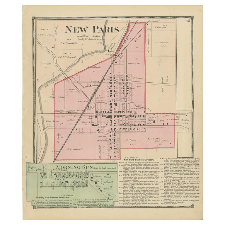 Antique map titled 'New Paris, Morning Sun'. Original antique map of villages and communities of Ohio. This map originates from 'Atlas of Preble County Ohio' by C.O. Titus. Published 1871.
