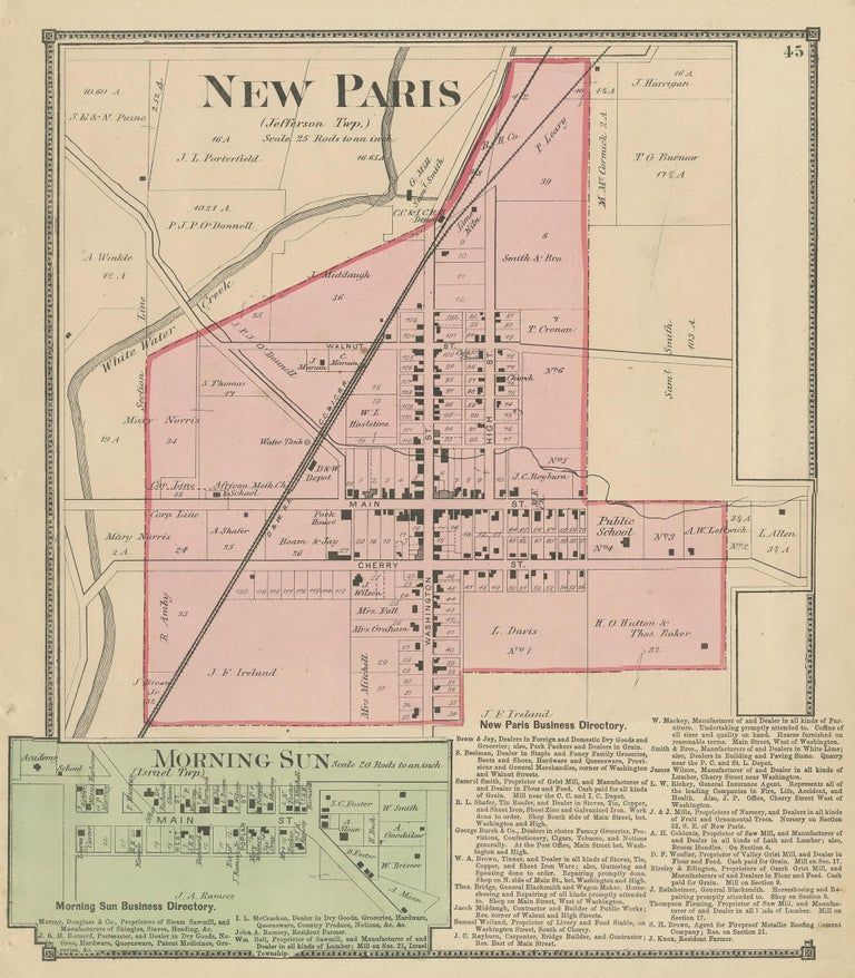 Antique Map of New Paris and Morning Sun, 1871 In Fair Condition For Sale In Langweer, NL