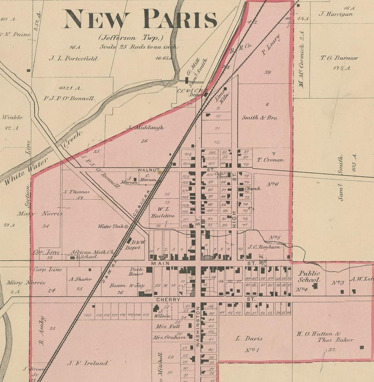19th Century Antique Map of New Paris and Morning Sun, 1871 For Sale