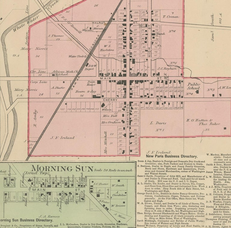 Paper Antique Map of New Paris and Morning Sun, 1871 For Sale