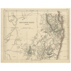 Antique Map of New South Wales by Lowry, '1852'