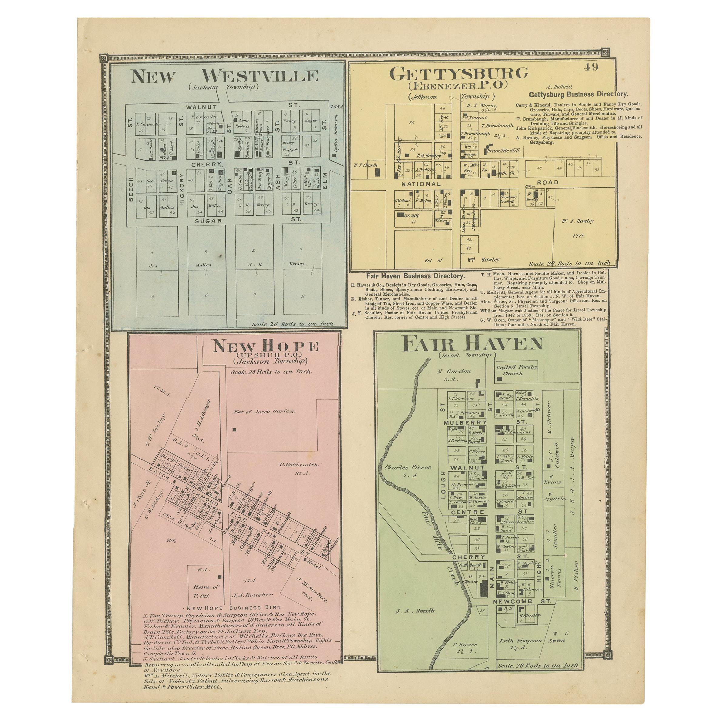 Antique Map of New Westville, Gettysburg, New Hope & Fair Haven, 1871
