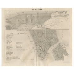 Antique Map of New York City by Balbi '1847'