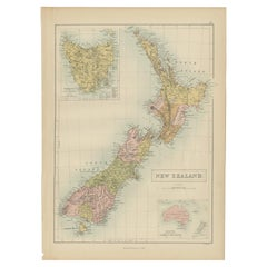 Antique Map of New Zealand by A & C. Black, 1870