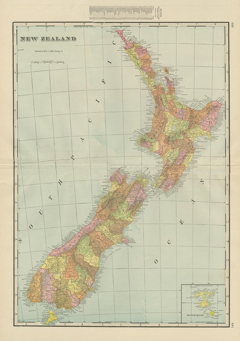 Antique map titled 'New Zealand'. Large map of New Zealand with a small legend of the Chatham Islands. On the verso, a map of the North Polar regions and a map of Tasmania can be found. Published by George F. Cram.
