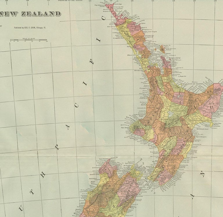 Antique Map of New Zealand by G.F. Cram, 'circa 1906' In Good Condition For Sale In Langweer, NL