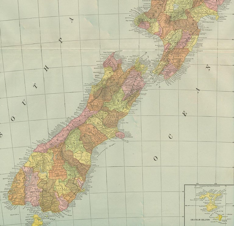 20th Century Antique Map of New Zealand by G.F. Cram, 'circa 1906' For Sale