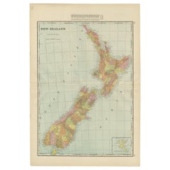 Antique Map of New Zealand by G.F. Cram, 'circa 1906'