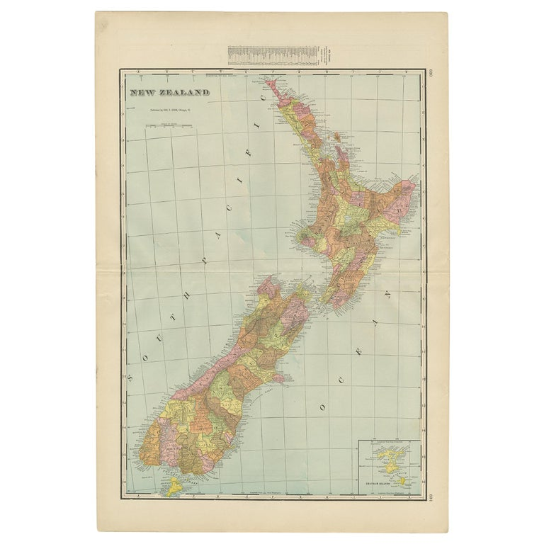 Antique Map of New Zealand by G.F. Cram, 'circa 1906' For Sale