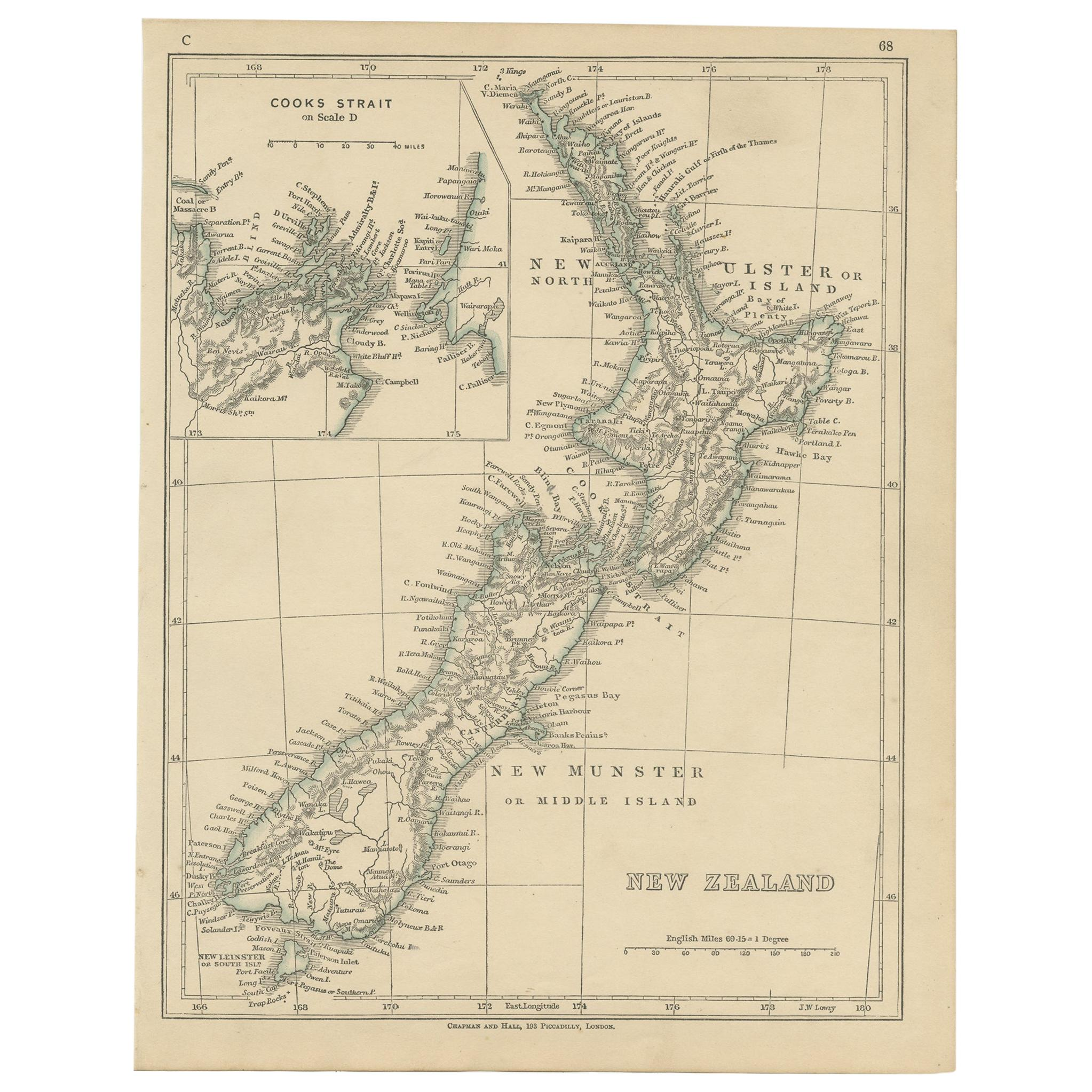 Antique Map of New Zealand by Lowry '1852'
