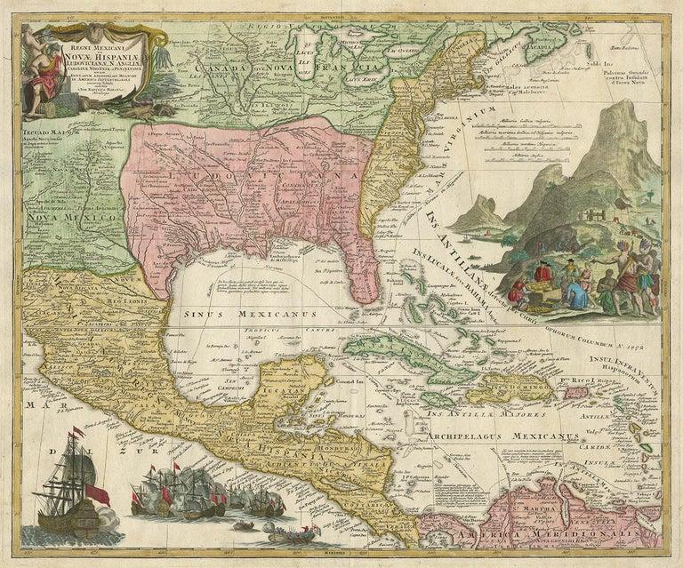 Antique map titled 'Regni Mexicani seu Nova Hispaniae Ludovicianus, N. Angliae, Carolinae, Virginiae et Pensylvaniae (..)'. This superb map covers the region from the Great Lakes and Nova Scotia through Central America, the Caribbean and Venezuela,