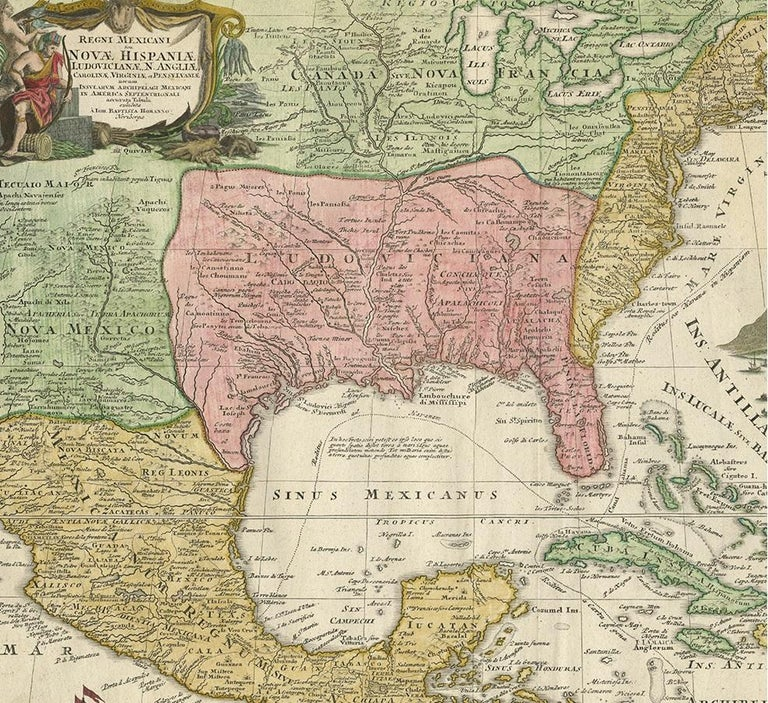 Antique Map of North America and the West Indies by Homann, circa 1720 In Good Condition For Sale In Langweer, NL
