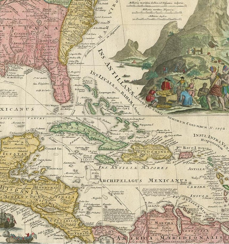 18th Century Antique Map of North America and the West Indies by Homann, circa 1720 For Sale
