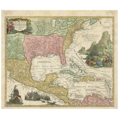 Antique Map of North America and the West Indies by Homann, circa 1720