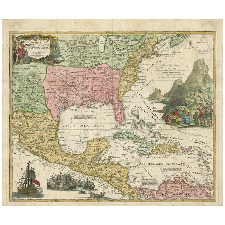 Antique Map of North America and the West Indies by Homann, circa 1720 For Sale